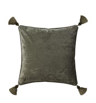 Textured Linen Velvet Pillow Cover with Tassels - Lichen