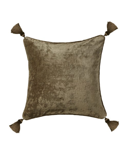 Textured Linen Velvet Pillow Cover with Tassels - Old Stone