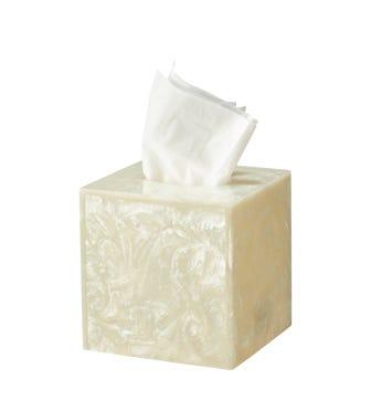 Toba Tissue Box Cover - White