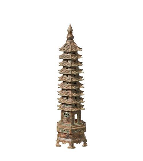 Toji Decorative Pagoda - Bronze Verdigris