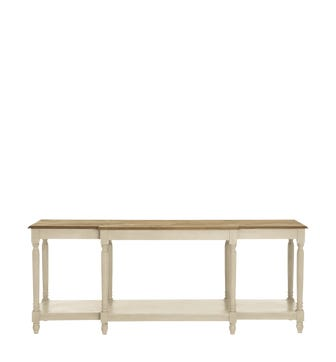 Upton Weathered Oak Top Console Table - Wood
