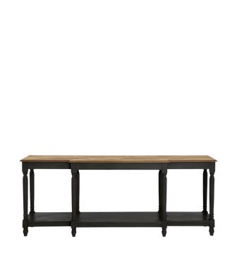 Upton Weathered Oak Top Console Table - Black