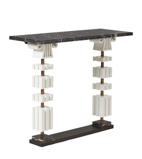 VD Marble Console Table - Black/ White
