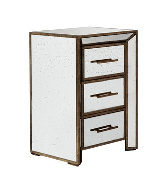 Versailles Side Table With Drawers - Antiqued Mirror
