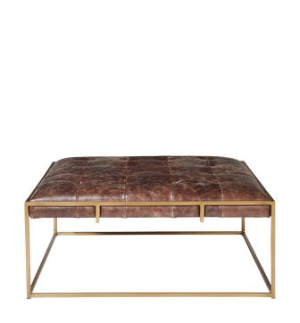 Wallace Coffee Table/Ottoman, Square - Aged Hazelnut Leather
