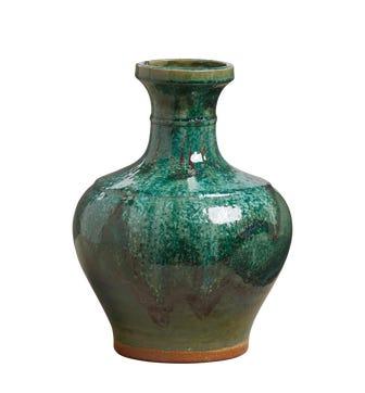 Wide Green Vase