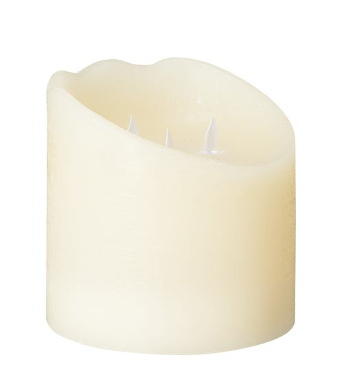 Wide Natural Glow Pillar LED Candle Small - Ivory
