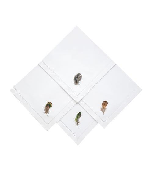 Wild Feather Embroidered Napkins, Set of 4 - White