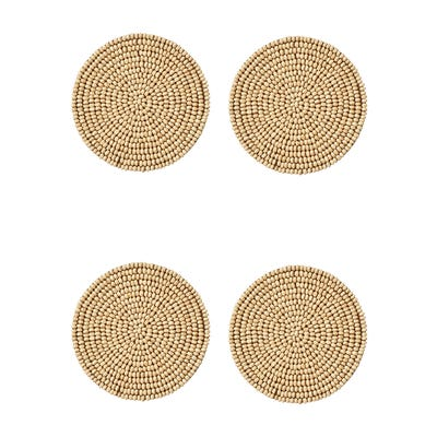 Wooden Beaded Coasters Set of 4 - Natural
