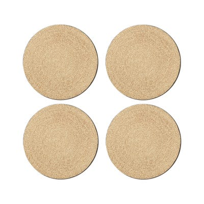 Wooden Beaded Placemats Set of 4 - Natural