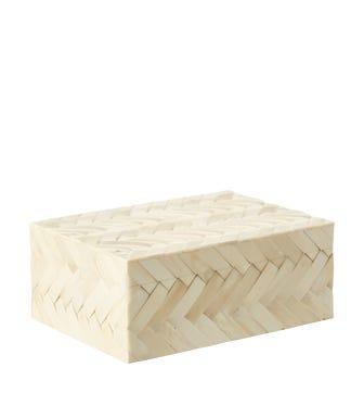 Woven Lidded Bone Box - Ivory