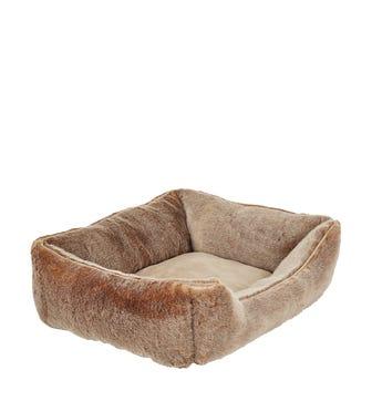Faux Fur Dog Bed, Medium - Lynx