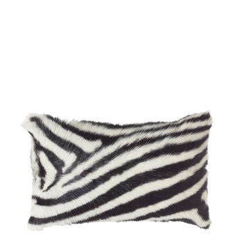 Zebra Goat Hair Cushion Cover(50x35cm) - Zebra / Red