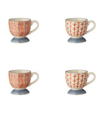 Zellige Espresso Cups Set of 4 - Orange / Grey