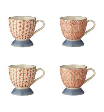 Zellige Mugs Set of 4 - Orange / Grey