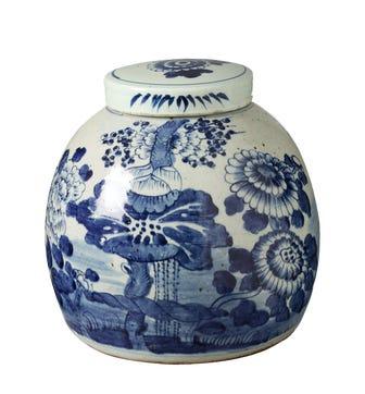 Zetian Lidded Jar - White/Blue