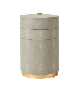 Zhenyi Faux Shagreen Side Table - Taupe