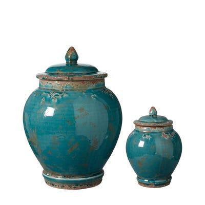 Zion Lidded Urns, Set of 2 - Aruba Blue