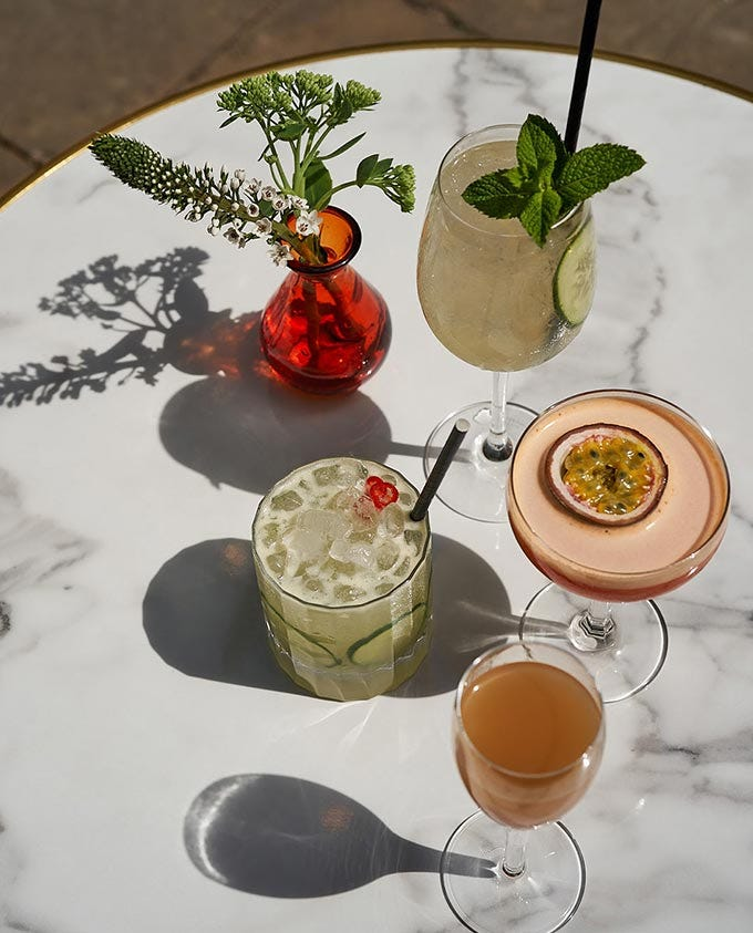 Cocktails on a marble table