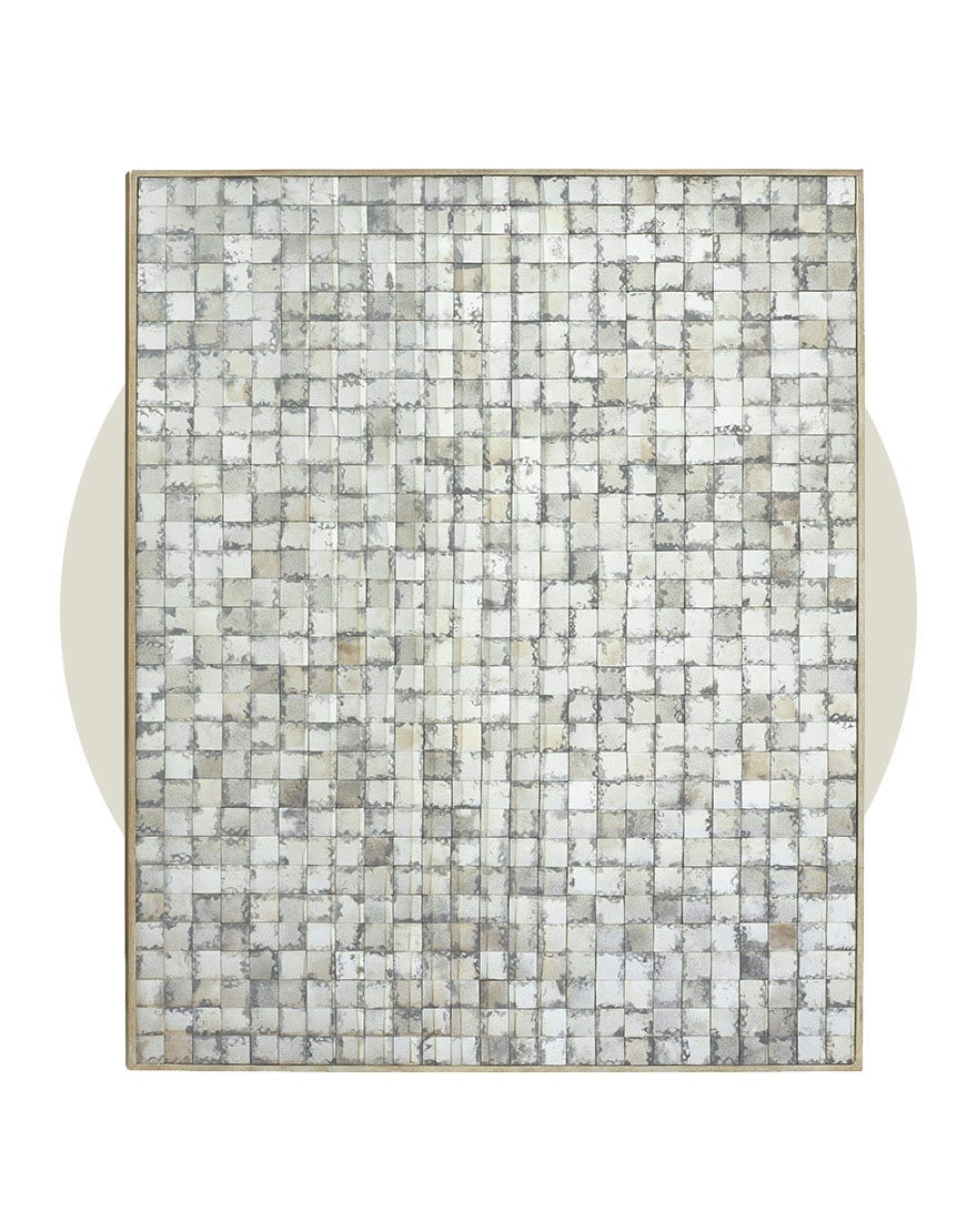 OKA's Tiryn Mirrored Wall Art, a rectangular piece comprise of small mirrored squares